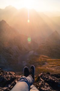 Relaxing on a a mountain
